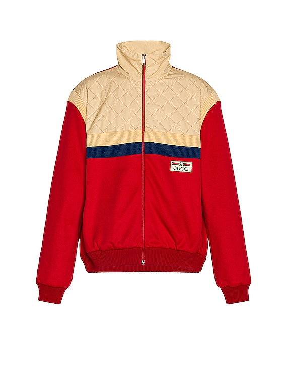 Track Jacket in Live Red & Ivory P & Mix