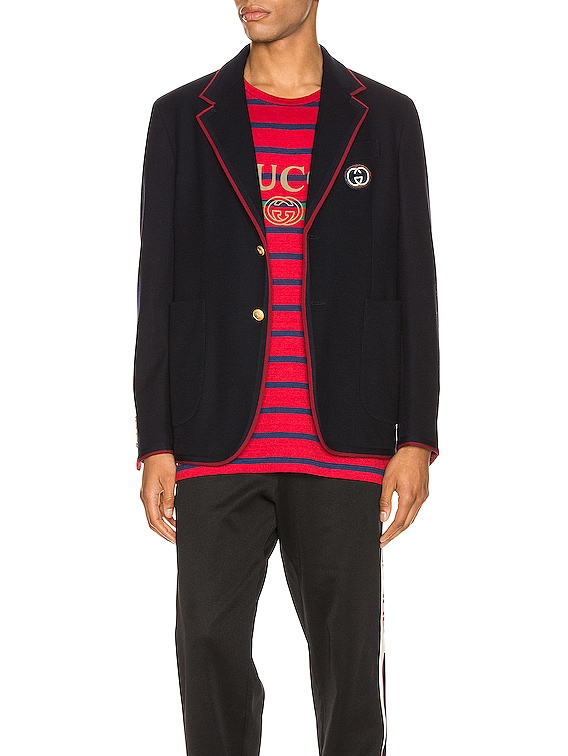 Palma Wool Cotton Jacket With Patch in Ink