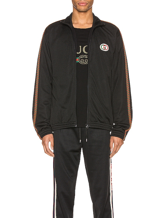 Oversize Mesh Jacket With Patch in Black & Multi