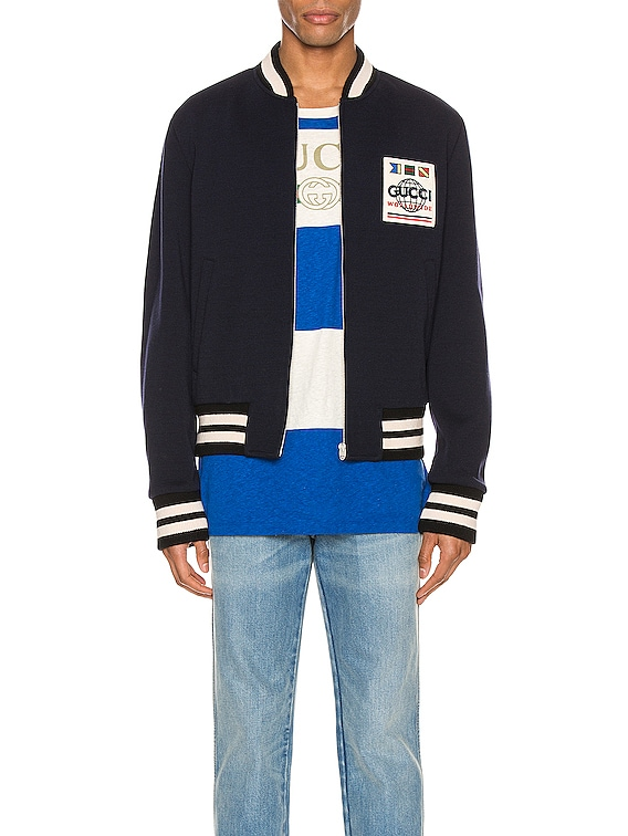 Jersey Wool Bomber Jacket in Vivid Blue & Mix