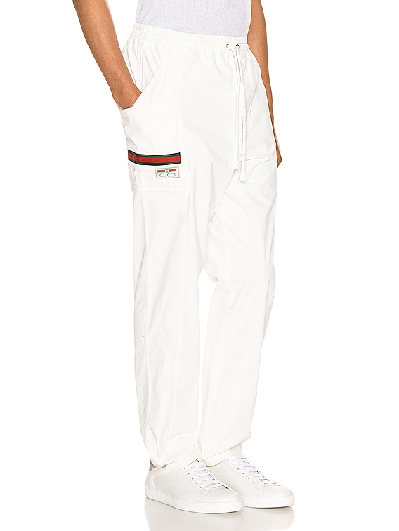 Cotton Canvas Pant With Gucci Label in White & Multi