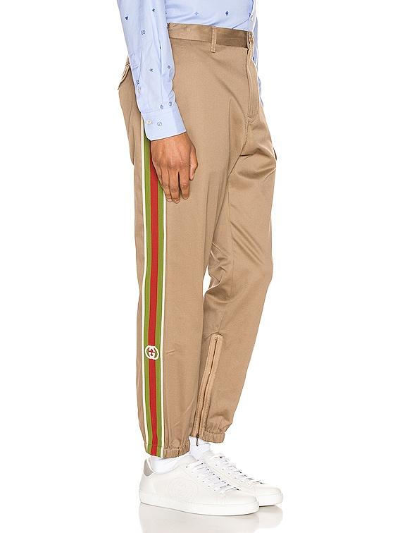 Cotton Pant With Stripes in Khaki & Multi