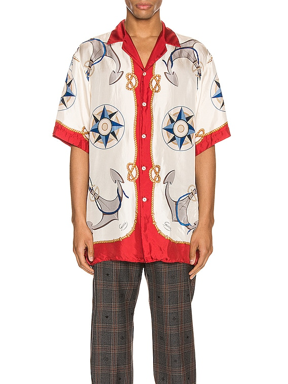 Nautical Print Oversize Bowling Shirt in Live Red & Ivory Print
