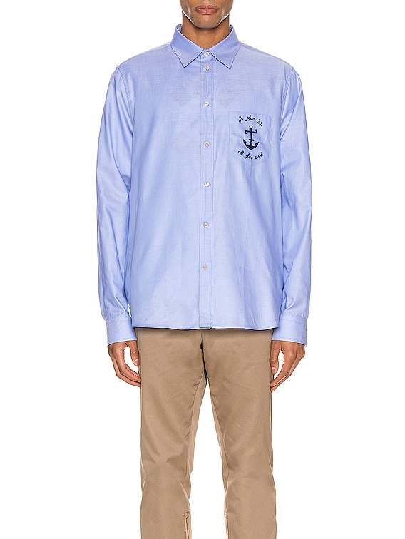 Embroidered Cotton Shirt in Sky Blue