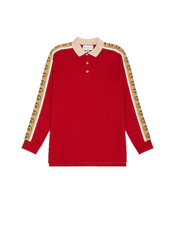 Long Sleeve Polo in Live Red & Multicolor