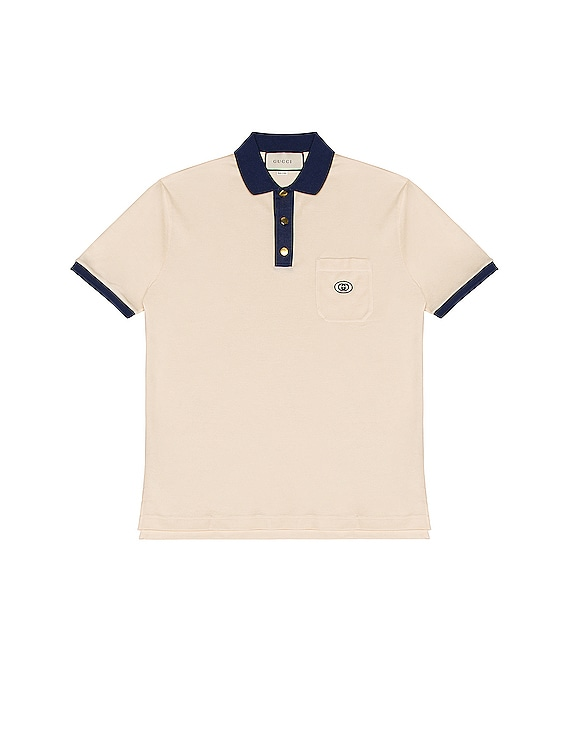 Short Sleeve Polo in Bone & Inchiostro