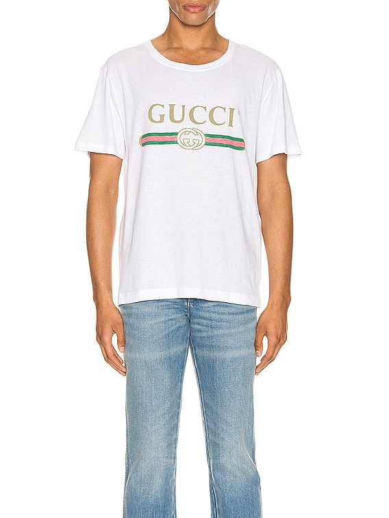 Logo Oversize Washed Tee in White & Green & Red & Gold