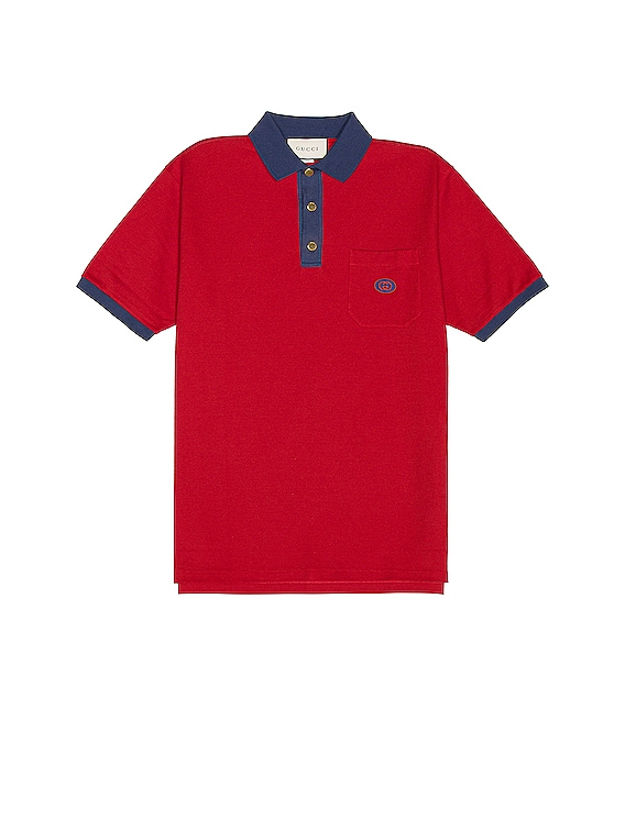 Short Sleeve Polo in Live Red & Ink