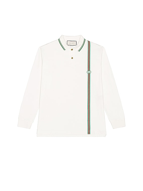 Long Sleeve Polo in White & Multicolor