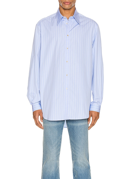 Oversized Striped Cotton Shirt in Azure & White
