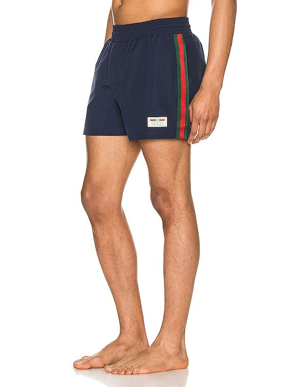 Waterproof Nylon Swim Shorts With Web in Blue & Green & Red