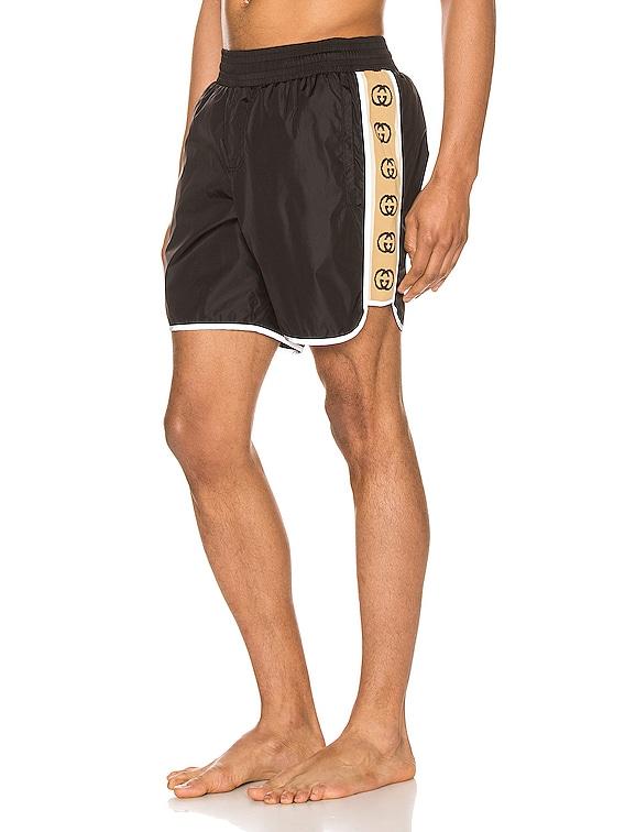 Nylon Swim Shorts With Ribbon in Black & Multi