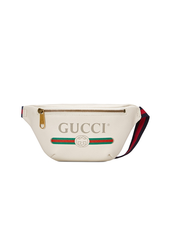 Gucci Print Small Belt Bag In White & Green & Red