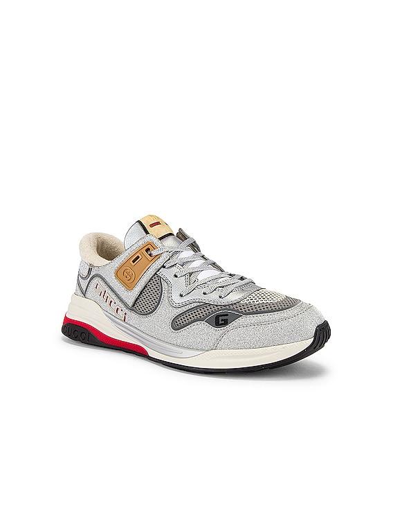 G Line Low Top Sneaker in Silver & White