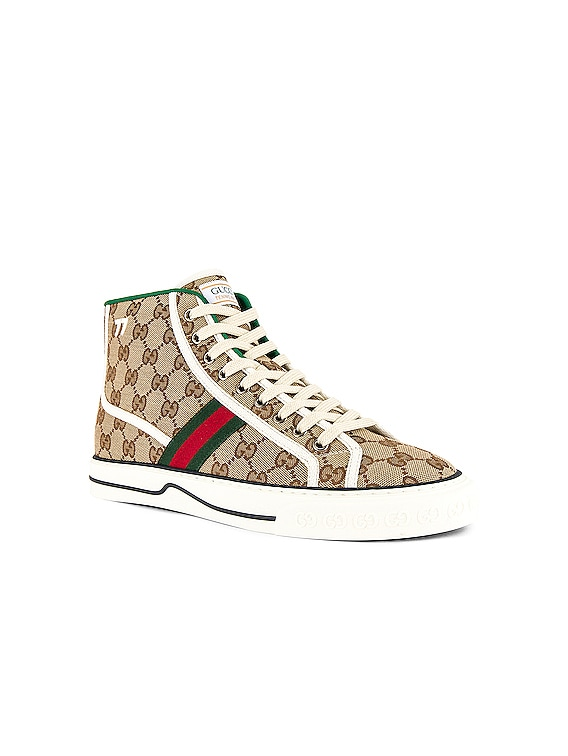 Gucci Tennis 1977 High Top Sneaker in Beige & White & Red & Green
