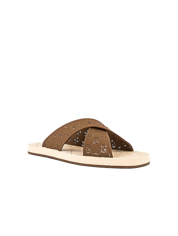 Crossed GG Rubber Sandal in Hazelnut
