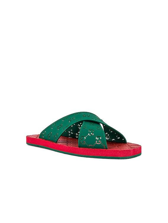 Crossed GG Rubber Sandal in Green