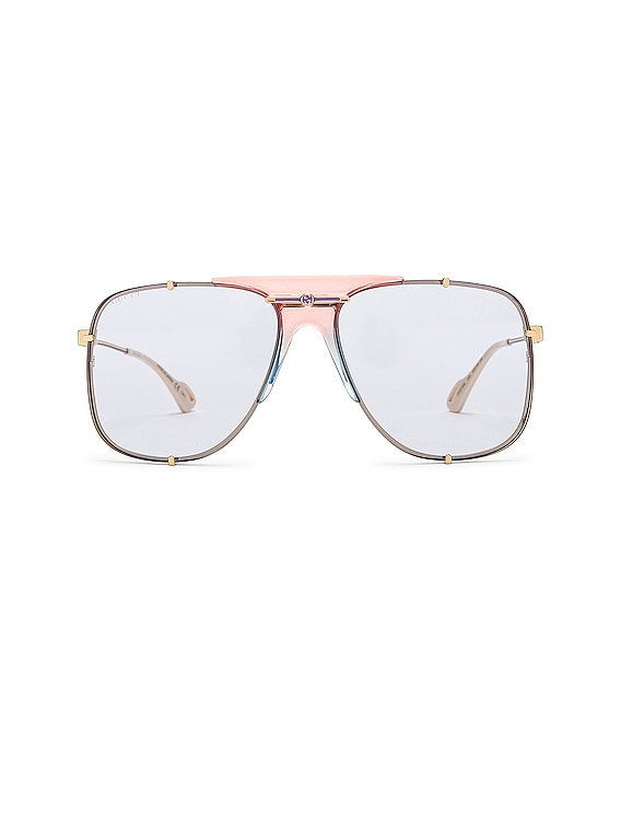 Embellished Pilot Oversized Square Sunglasses in Shiny Gold & Light Blue