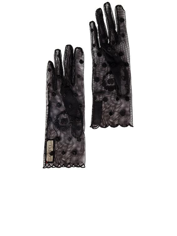 Sheer Gloves in Black & Black