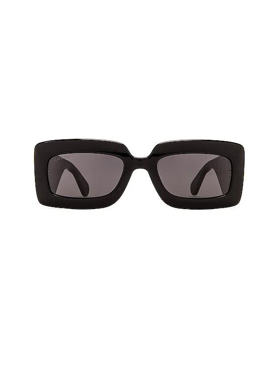 Matelasse Rectangular Sunglasses in Black
