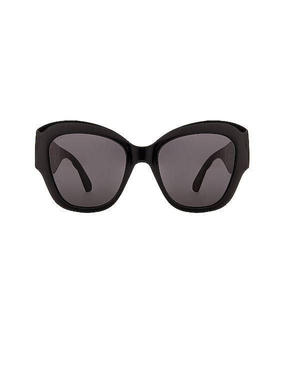 Matelasse Round Cat Eye Sunglasses in Black