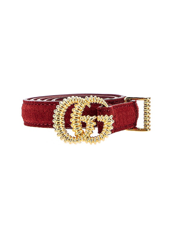 Suede Torchon Double G Buckle Belt in Cherry Red