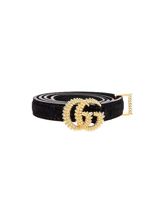 Suede Double G Buckle Belt in Black