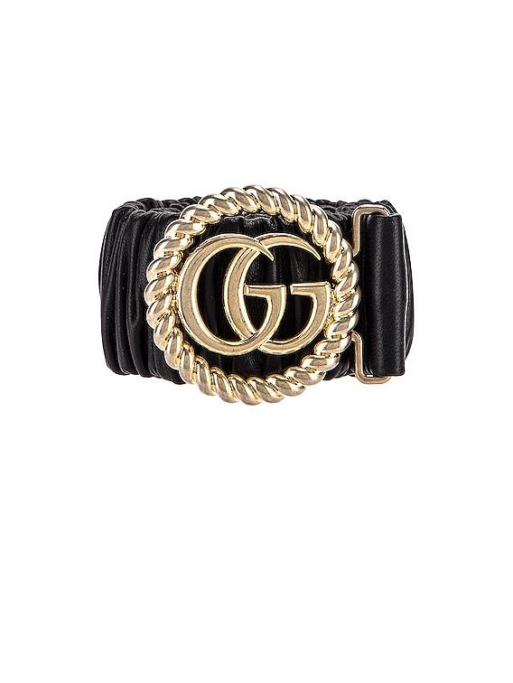 Leather Double G Buckle Belt in Black