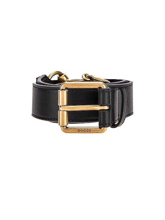 Horsebit Leather Belt in Black