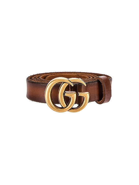 Leather Double G Buckle Belt in Cuoio