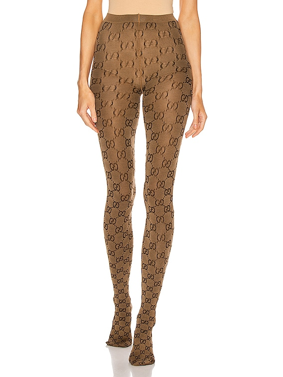 GG Tights in Beige & Brown