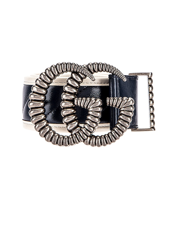 Leather Torchon Double G Buckle Belt in Blue Agata & Mystic White
