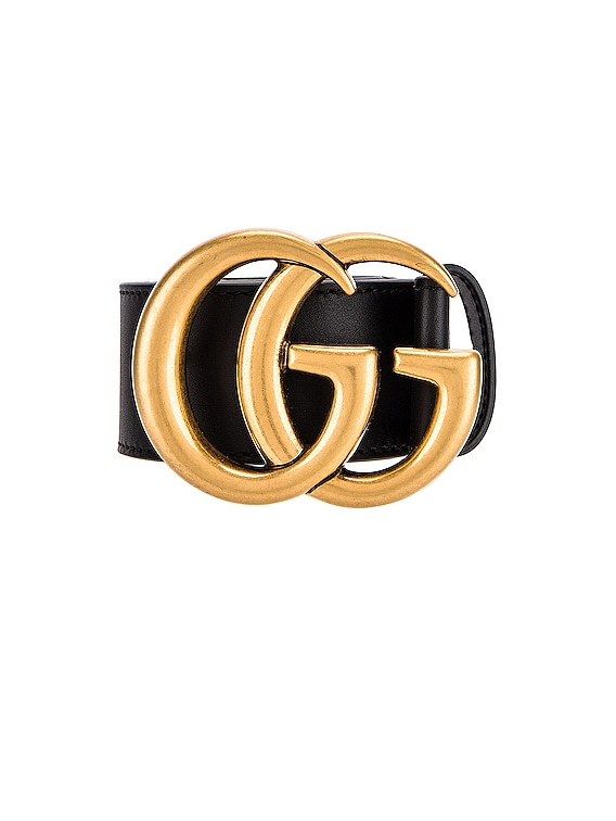 Leather Double G Buckle Belt in Black