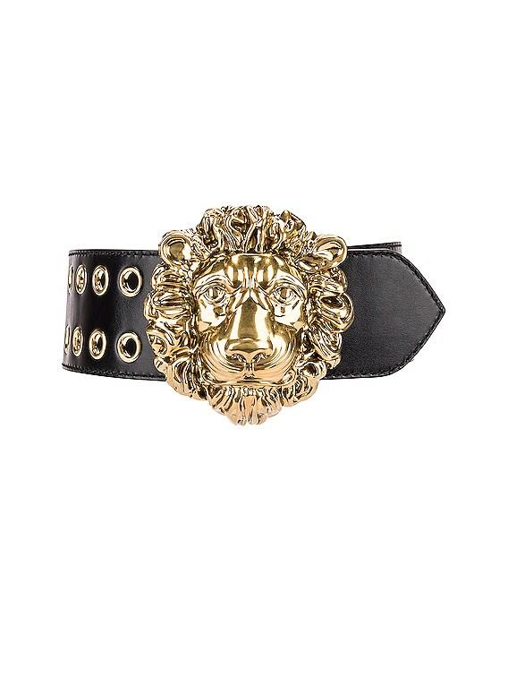 Leather Lion Belt in Nero
