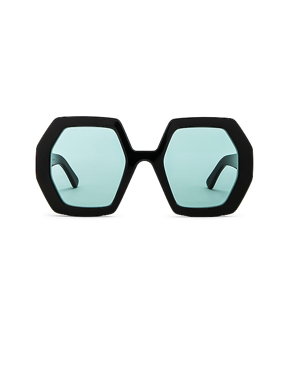 Runway Geometric Sunglasses in Shiny Black & Green