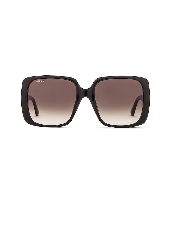 Logo Square Sunglasses in Shiny Black & Grey Gradient