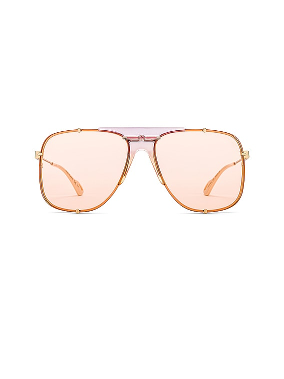 Embellished Pilot Oversized Square Sunglasses in Shiny Gold Transparent Lilac & Pink