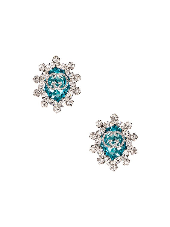 Colored Crystal Earrings in Green