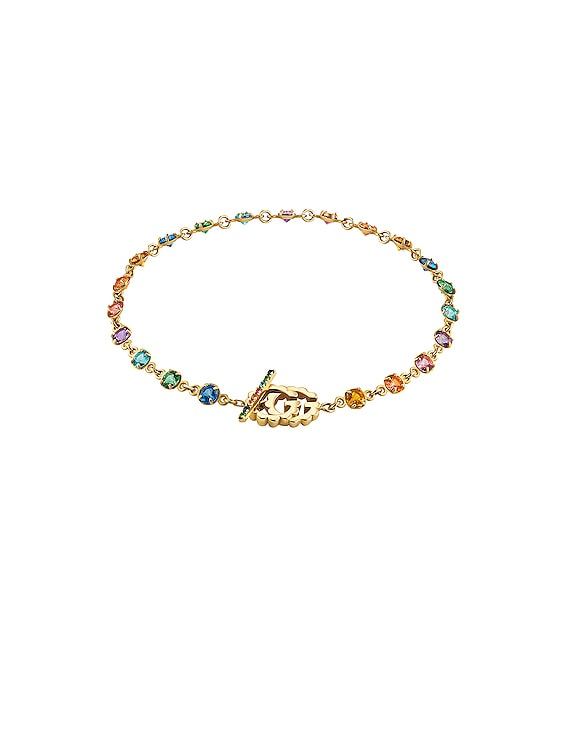 GG Running Chain Bracelet in 18KT Yellow Gold & Multicolor