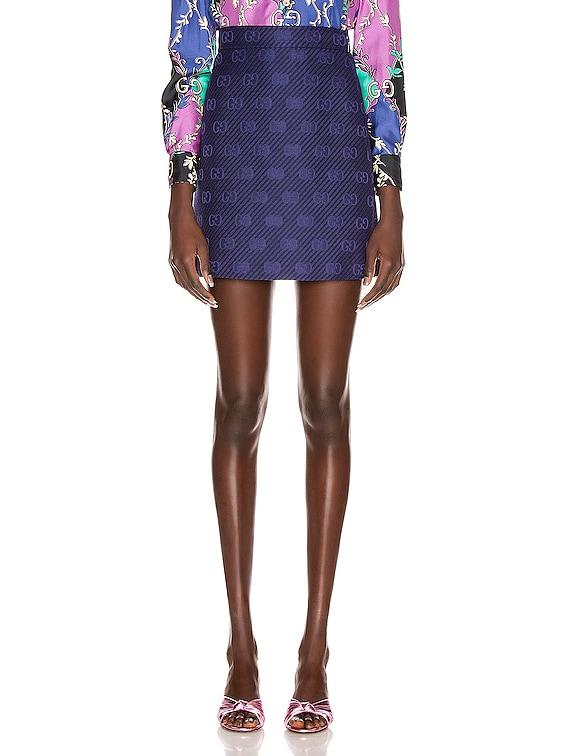 GG Diagonal Mini Skirt in Royal Bluette