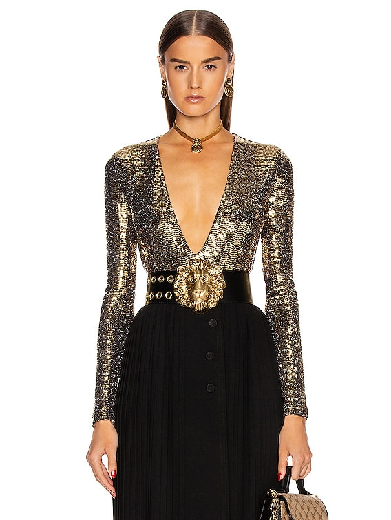 Long Sleeve Bodysuit in Black & Gold