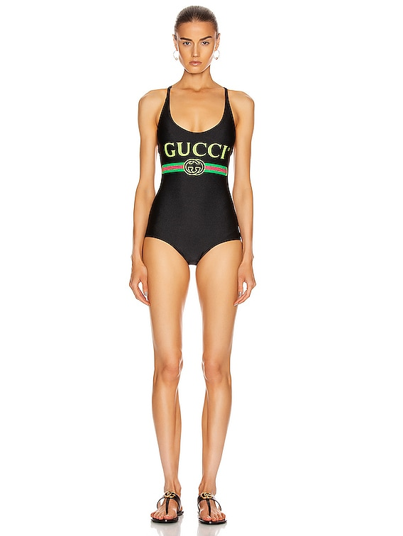 Logo One Piece Swimsuit in Black & Multicolor