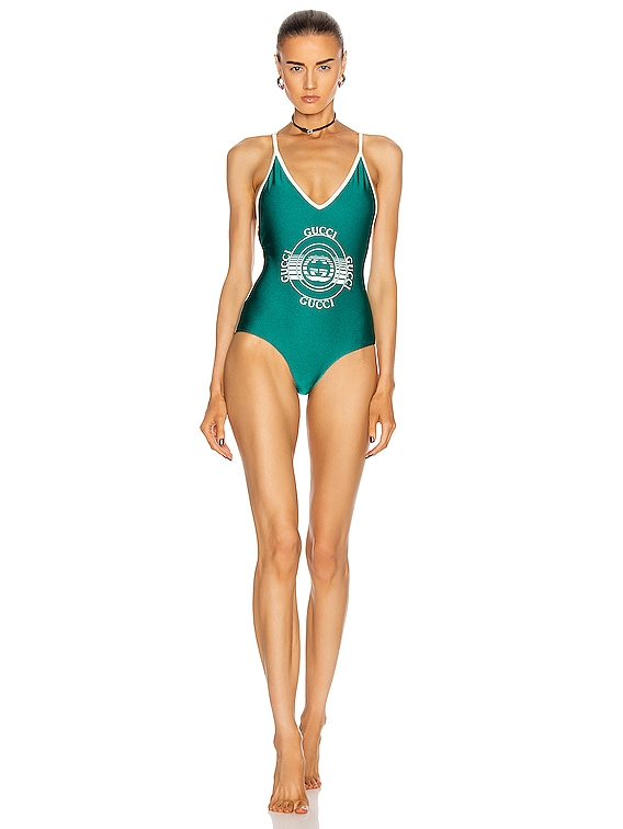 One Piece Logo Swimsuit in Green & Ivory
