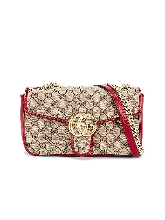 Shoulder Bag in Beige Ebony & New Cherry Red