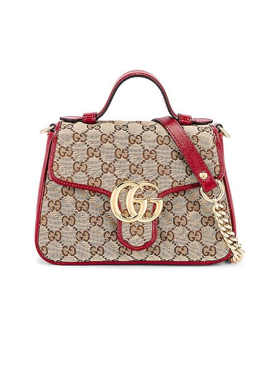 Top Handle Bag in Beige Ebony & New Cherry Red