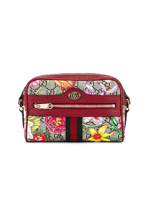 Ophidia GG Flora Crossbody Bag in Beige Ebony & Red