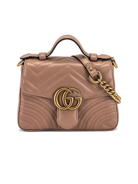 GG Marmont 2.0 Top Handle Bag in Nude