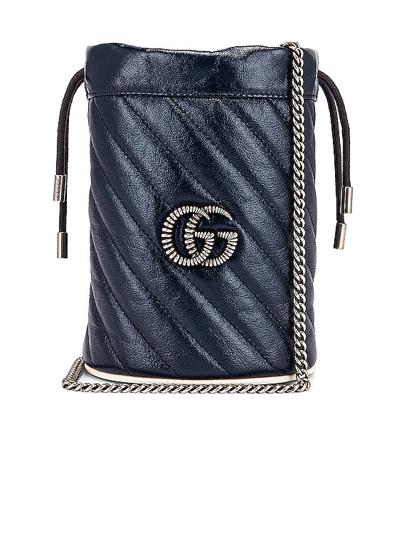 Leather Torchon Chain Bucket Bag in Blue Agata & Mystic White
