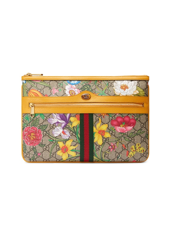 Floral Pouch in Beige Ebony & Multicolor