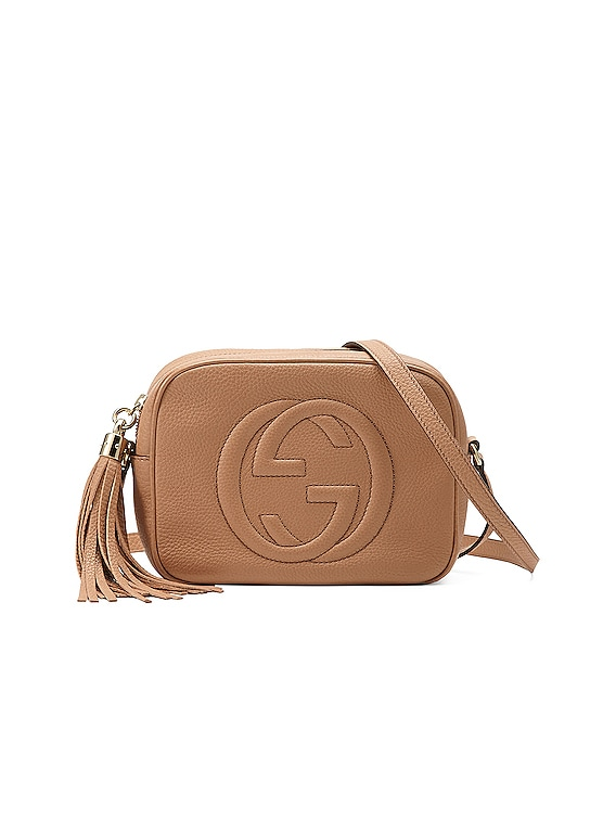 Small Leather Disco Bag in Camelia